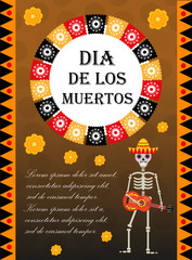Day of the dead flyer, poster, invitation. Dia de Muertos template card for your design. Holiday in Mexico concept. Vector illustration