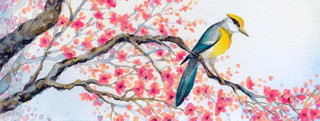 Beautiful bird on flowering branch. Watercolor painting