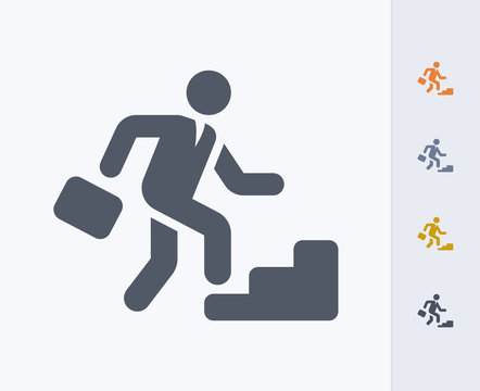 Climbing Businessman - Carbon Icons. A professional, pixel-aligned icon designed on a 32x32 pixel grid and redesigned on a 16x16 pixel grid for very small sizes.