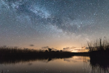 Milky way over calm lake