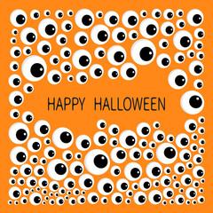 Eyes frame. Eyeball apple set. Happy Halloween baby card. Spooky orange background. Flat design.
