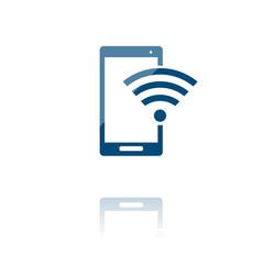 farbiges Symbol - Smartphone und Wlan-Symbol