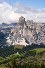 Dolomite Alps. View on Sassongher peak. Alta Badia, Sud Tirol, Italy