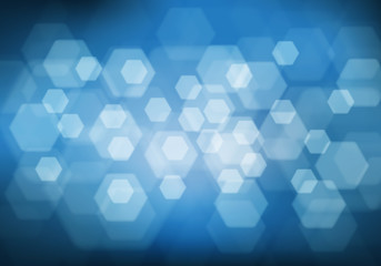 Abstract white hexagon bokeh light blur on blue background vector illustration.