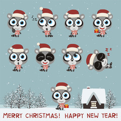 Merry Christmas and Happy New Year! Set funny raccoon in various poses for christmas decoration and design. Collection isolated raccoon in cartoon style.