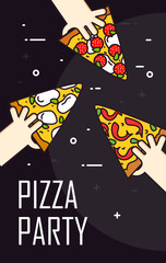 Illustration with hand and slice of pizza pepperoni. Vector banner for fast food. Thin line flat design card.