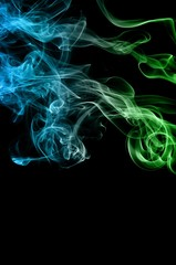 Abstract green and blue smoke on black background, smoke background,green and blue ink background,green and blue, beautiful color smoke