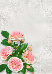 Greeting card with space for text or photo, pink roses on vintage lace background