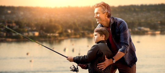 Fotorollo Fischerei Composite image of father teaching his son fishing