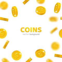 Flying gold dollars cartoon frame. Background of the flying gold of dollars in the form of a frame in a cartoon style. Cover gold pieces in the form of vector illustrations