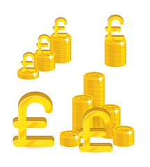 Piles gold pounds isolated cartoon set. A lot of stacks and slides of gold pounds and pound signs for designers and illustrators. Gold bunches of pieces in the form of a vector illustration