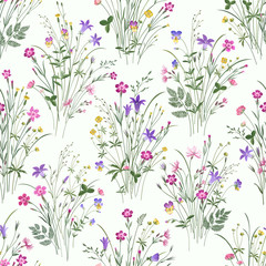 seamless floral pattern with meadow flower bouquets on white background