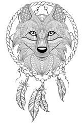 Dream catcher with wolf. Tattoo or adult antistress coloring page. Black and white hand drawn doodle for coloring book
