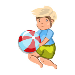 Small boy playing with a ball