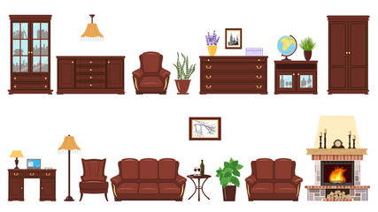 Big realistic Set of home furniture elements for cabinet, library, parlour.