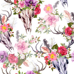 Deer skulls aflowers. Seamless pattern. Watercolor