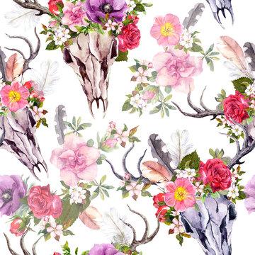 Deer skulls aflowers. Seamless pattern. Watercolor