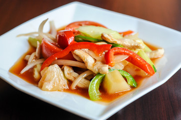 Stir-fried Sweet & Sour, Stir-fried with pineapple, onions, tomatoes, cucumbers and bell peppers.