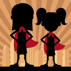 Super Kids 2 Girls / Square banner of 2 super girls.