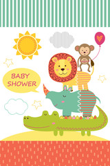 card with baby jungle animals  - vector illustration, eps