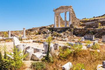 The Temple of Isis in Archaeological Site of Delos island, Cyclades, Greece.