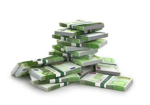 euro bills stack, 3d illustration