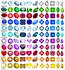 illustration set of precious stones of different cuts and colors
