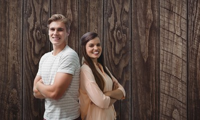 Composite image of young smiling people are posing with crossed
