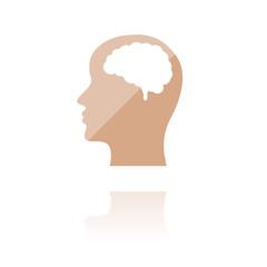 Farbiges Symbol - Kopf mit Gehirn