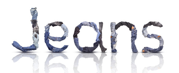 jeans word made from jeans pants with reflection isolated