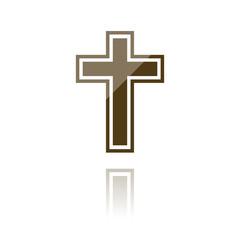 farbiges Symbol - Kreuz mit Kontur