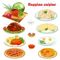 Illustration set of Russian cuisine with soup, dumplings pancakes, scrambled eggs, hamburger and cake