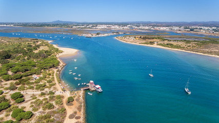 Aerial. Gulf of the river island of Tavira. View from sky