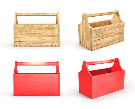 Set of empty wood toolbox on a white background. 3d illustration