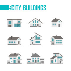 Nine small city buildings set of icons - vector illustration
