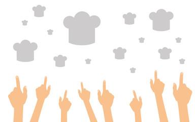 Hände zeigen auf Kochhauben