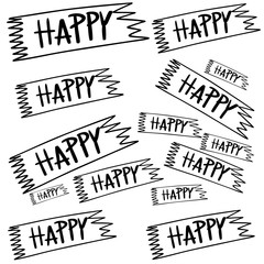 Signs happy cute painted with stripes to use in a striped shirt coloring book cover for children.