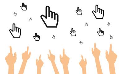 Hände zeigen auf Zeigefinger