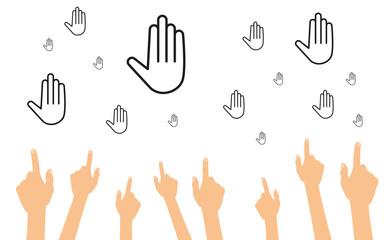 Hände zeigen auf Hände
