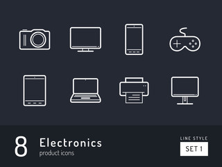 Set 1 of electronics, product icons on the black background. Universal linear icons to use in web and mobile app.