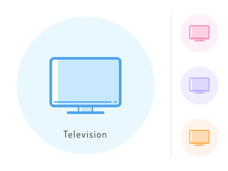 Television icon vector. Television symbol for your web site design, logo, app. One of a set of linear electronics icons.