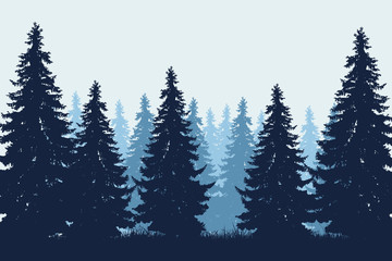 Vector realistic illustration of coniferous forest with grass under winter blue sky