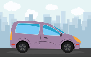Purple car in the background of skyscrapers in the afternoon.  Vector illustration.