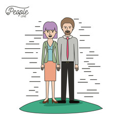 caricature couple people line bearded man and woman with straight short hair standing formal clothes in grass on white background vector illustration
