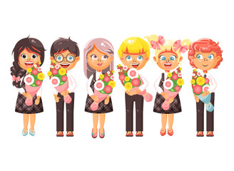 Vector illustration isolated cartoon characters children schoolchildren classmates pupils students standing with bouquets flowers, knowledge day, study back to school flat style white background
