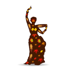 Dancing woman (oriental), Autumn illustration silhouette on white background.