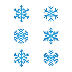 Snowflakes line art set blue color. White snow background vector icon silhouette weather symbol