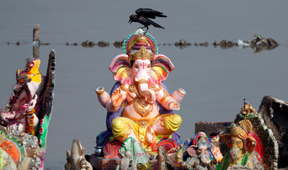 A crow perches on an idol of the Hindu god Ganesh, the deity of prosperity, the day after it was immersed in the Yamuna river for the Ganesh Chaturthi festival in Delhi