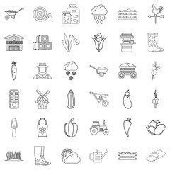 Vegetable icons set, outline style