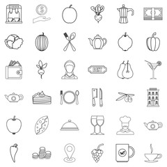 Vegetarian cafe icons set, outline style